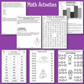 Academic Winter Sports No Prep Activities