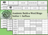 Academic Build-a-Word Bingo Sublist 1: Suffixes