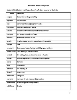 Academic Word List Assessment - Sublist 1 Most Frequent Words