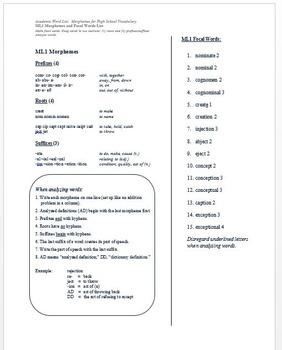 Academic Word List: Morphemes for High School Vocabulary: