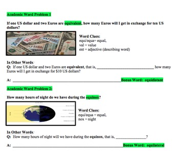 Academic Word Problems: Developing Depth of Vocabulary Student Workbook