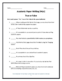 Academic Writing: True or False?