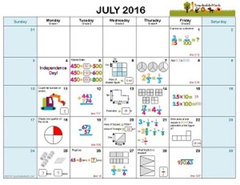 Academic Year Math Calendar 2016/2017 With Answers