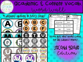 Academic and Content Vocabulary Word Wall- 2nd (Second) Grade Edition