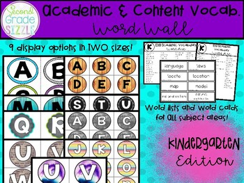 Academic and Content Vocabulary Word Wall- Kindergarten Edition