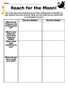 Academic and Personal Goal Setting Sheet (First Day of School)