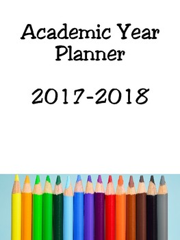 Academic planner, year planner, 2017-2018 Front cover