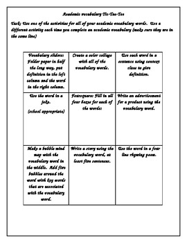 Academic vocabulary tic tac toe common core literacy worksheet