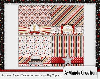 Academy Awards Teacher Appreciation Printable Bag Toppers
