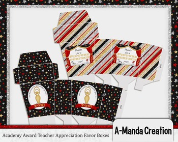 Academy Awards Teacher Appreciation Printable Favor Boxes