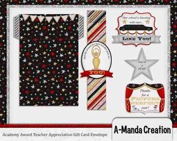 Academy Awards Teacher Appreciation Printable Gift Card Envelope