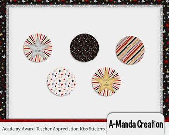 Academy Awards Teacher Appreciation Printable Kiss Stickers