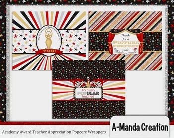 Academy Awards Teacher Appreciation Printable Microwave Popcorn Wrappers