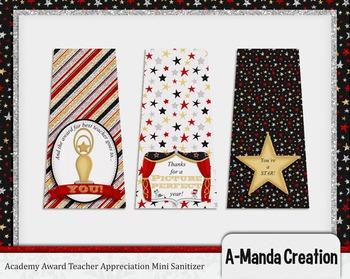Academy Awards Teacher Appreciation Printable Mini Sanitizer Labels