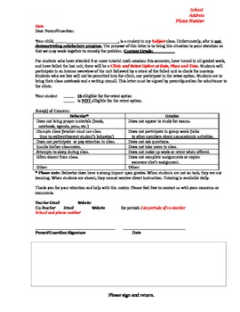 Acadmic Failure and Retest Letter to Parents