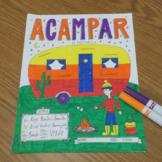 Acampar Spanish verb color by conjugation preterite no prep printable -AR verbs