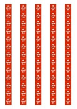 Accelerated Reader Level Spine Labels: Level 0.6 - Avery A4 L7651