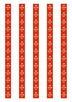 Accelerated Reader Level Spine Labels: Level 0.7 - Avery A4 L7651