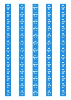 Accelerated Reader Level Spine Labels: Level 5.3 - Avery A4 L7651