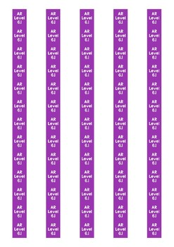 Accelerated Reader Level Spine Labels: Level 6.1 - Avery A4 L7651
