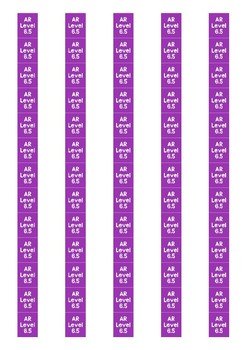 Accelerated Reader Level Spine Labels: Level 6.5 - Avery A4 L7651