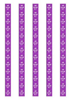 Accelerated Reader Level Spine Labels: Level 6.7 - Avery A4 L7651