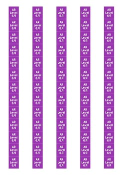 Accelerated Reader Level Spine Labels: Level 6.9 - Avery A4 L7651