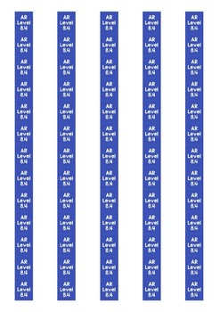 Accelerated Reader Level Spine Labels: Level 8.4 - Avery A4 L7651