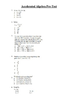 Accelerated Algebra 1 Pre-Test