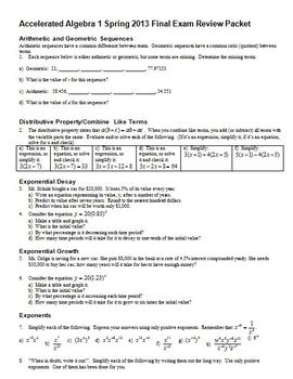 Accelerated Algebra Final Exam Review Packet Spring 2013 (Editable)