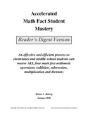 Accelerated Math Fact Student Mastery - Reader's Digest Version - FREE