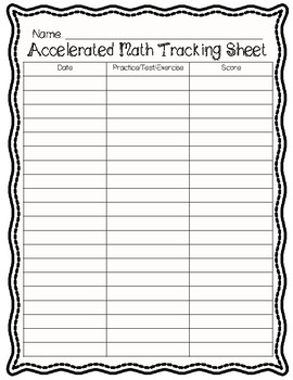 Accelerated Math Student Tracking Sheet