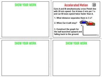 PHYSICS: MECHANICS: Accelerated Motion Task Cards: problems, questions, graphs