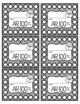 Accelerated Reader (AR) 100 Percent Punch Cards