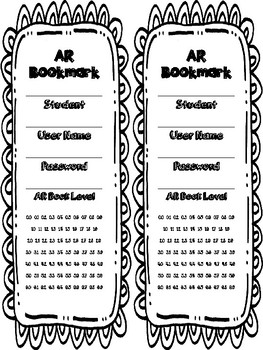Accelerated Reader AR Bookmark