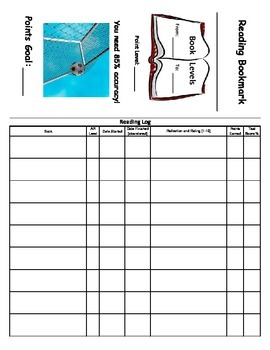 Accelerated Reader (AR) Bookmark/Log