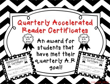 Accelerated Reader Award / Certificate - A.R. Goal for Reading