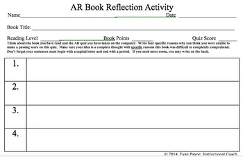 Accelerated Reader Book Reflection Activity