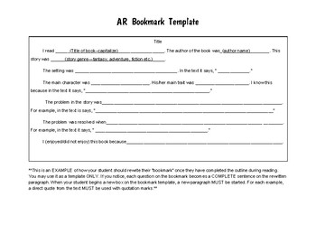 Accelerated Reader Book Report Template