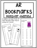 Accelerated Reader Bookmarks ~ Monster Theme