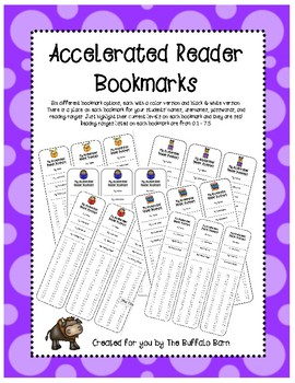 Accelerated Reader Bookmarks (SIX VERSIONS TO CHOOSE FROM!) Levels 0.1-7.5