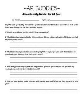 Accelerated Reader Buddy Worksheet