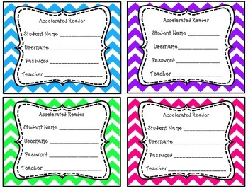 "Accelerated Reader ""Chevron Print"" Username and Password Cards"
