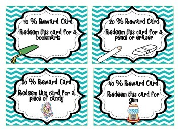 Accelerated Reader Chevron Reward Cards