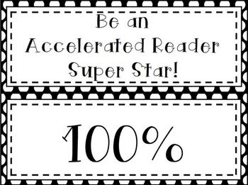 Accelerated Reader Clip Chart: Black & White Polka Dots