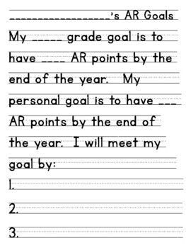 Accelerated Reader Forms for Data Notebooks (Goals/Tracking/Reflecting)