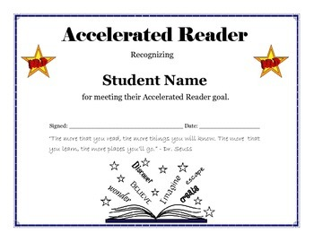 Accelerated Reader Goal Certificate - Editable by ...