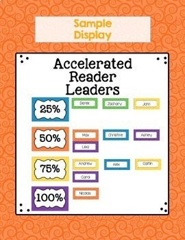 Accelerated Reader Leader AR Point Goal Tracker Tag & Clip Chart Certificate Log