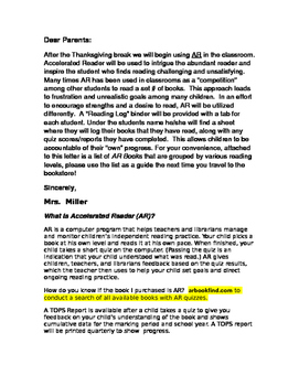 Accelerated Reader Letter to Parents