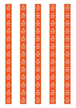 Accelerated Reader Level Spine Labels: Level 10.2 - Avery A4 L7651